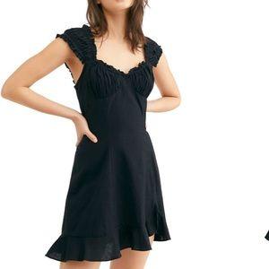 Free People Like a Lady linen Black sun Dress s
